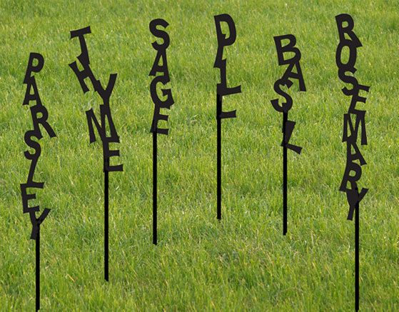 Vertical Plant Markers by RusticaOrnamentals on Etsy.