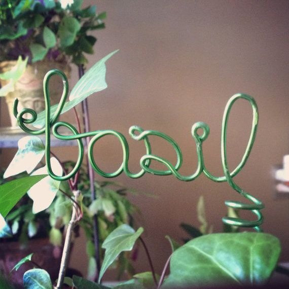 Wired letters plant markers by WiredWeddings on Etsy.